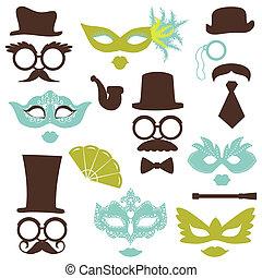 Retro Party Set - Brille, Hüte, Lippen, Schnurrbart, Masken - für Design, Fotokabine, Sammelalbum im Vektor