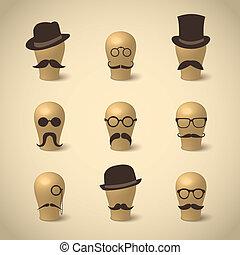 Retro-Schnurrbärte und Brillen.