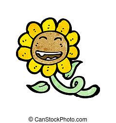 Retro Sonnenblumen-Cartoon.