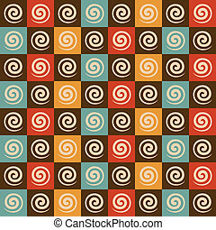 Retro-Spirale und Quadratmuster