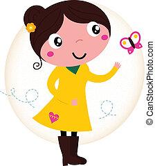 Retro springt süßes Mädchen in gelbem Kleid mit Schmetterling