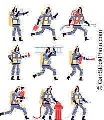 rettung, einsparung, karikatur, firehose, fireman., vektor, equipment., satz, helm, löscher, charaktere, feuerwehrmann, leute, feuerwehrmänner
