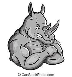 Rhino starkes Maskottchen.