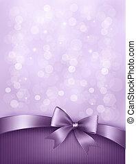 ribbon., geschenk verbeugung, elegant, vektor, hintergrund, feiertag