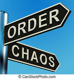 richtungen, wegweiser, bestellung, chaos, oder