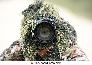 riesig, tierwelt, seine, zeigen, fotograf, 300mm, tarnung, linse, während, 2.8, telefoto, draußen, gebrauchend, sie