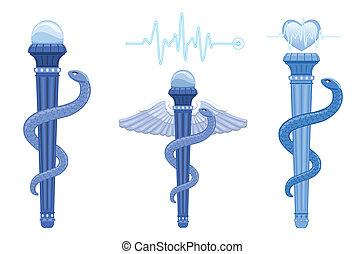 Rod von Asclepius und Caduceus - medizinisches Symbol