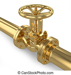 rohrleitung, ventil, gold