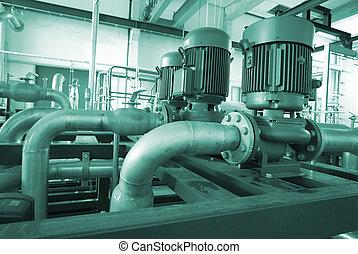 rohrleitungen, industrie, leitern, stahl, zone, ventile