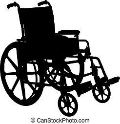 Rollstuhl-Silhouette isoliert auf weiß