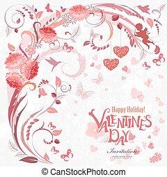 Romantische Einladungskarte mit Blumenelementen für Ihr Design.