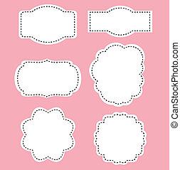 Romanze weiße Etiketten auf rosa Hintergrund.