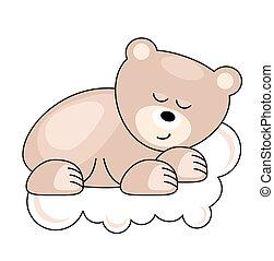 rosa, bär, eingeschlafen, hübsch, klein, wolke