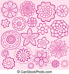 Rosa-Blumen-Doodles-Vektordesign