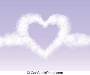 rosa, herz, wolkenhimmel, romantischer himmel, hintergrund