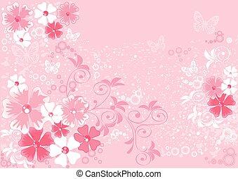 rosa, illustrationen, sakura, blumen