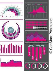 rosa, set., vektor, infographic