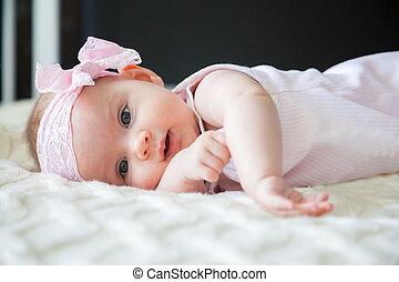rosa, töchterchen, bezaubernd, schleife