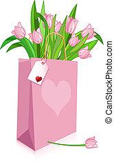 rosa, tulpen, tasche
