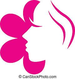 rosafarbene blume, ), (, freigestellt, gesicht, weibliche , weißes, ikone