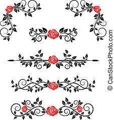 Rosen mit Blumenschmuck.