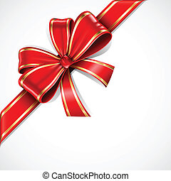 Rot- und Goldvektoren-Geschenk, Bogen und Band