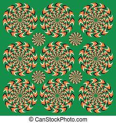 rotation, fortwährend, illusion