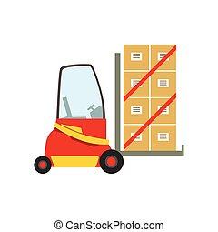 Rote Gabelstapler-Lagerwagen heben die Papierkartonpakete, Lagermaschinen ohne Fahrer