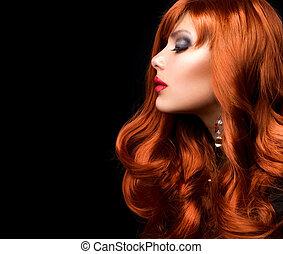 Rote Haare. Modemädchenportrait