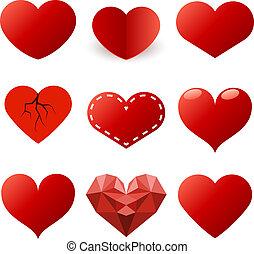 Rote Herzen formen Vektor, isoliert auf weißem Hintergrund.