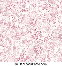 Rote Linie, Kunstblumen, nahtloser Muster Hintergrund