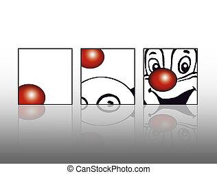 Rote Nase eines Clowns