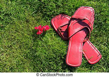 Rote Schuhe auf Gras.