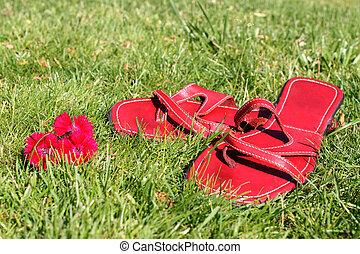 Rote Schuhe auf Gras