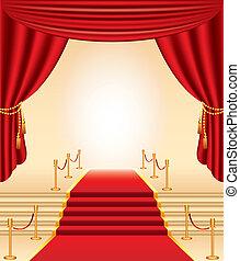 Rote Teppiche, goldene Stacheln, Treppen und Vorhänge