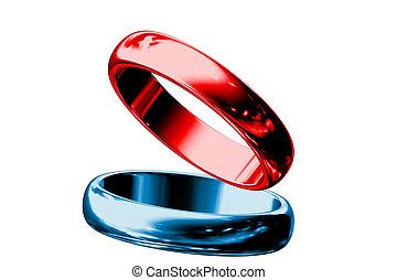 Rote und blaue Ringe