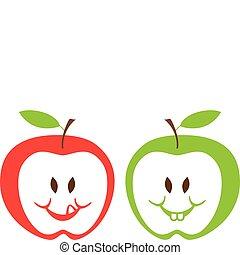 Rote und grüne Äpfel, Vektor