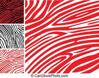Rote und weiße Zebrahaut - Tierdruck oder Mustersammlung.