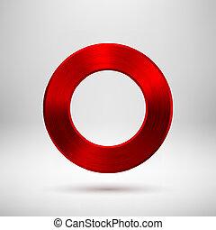 Roter, abstrakter Kreisknopf mit metallischer Textur.