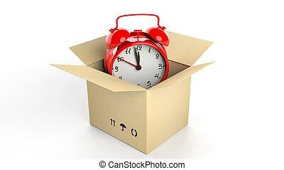 Roter Alarm im Karton, isoliert auf weißem Hintergrund.