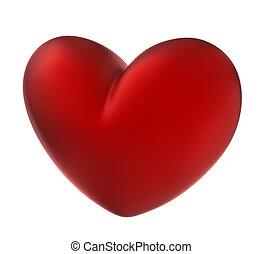 Rotes Herz. Auf weiß isoliert