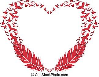 Rotes Herz, Feder und fliegende Vögel.