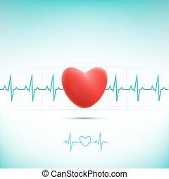 Rotes Herz-Kardiogramm