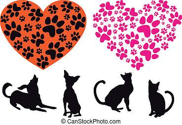 Rotes Herz mit Tierfutter