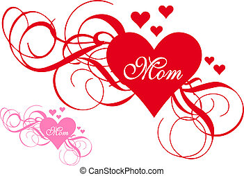 Rotes Herz mit Wirbeln, Muttertag.