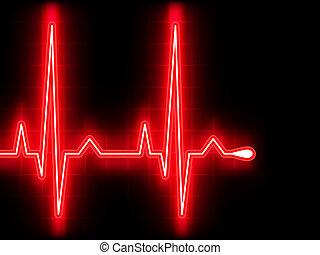 Rotes Herz schlägt. Ekg graph. EPS 8