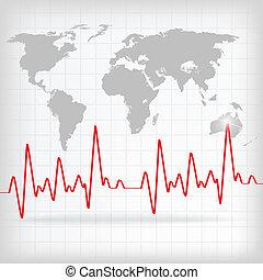 Rotes Herz schlägt Kardiogramm im weißen Hintergrund