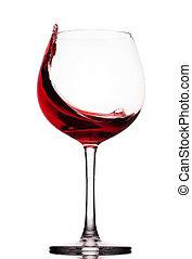 Rotweinglas über einen weißen Hintergrund