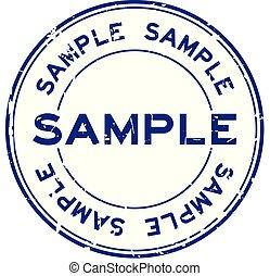 runder , probe, grunge, hintergrund, gummi, wort, weißes, blaues, siegel, briefmarke