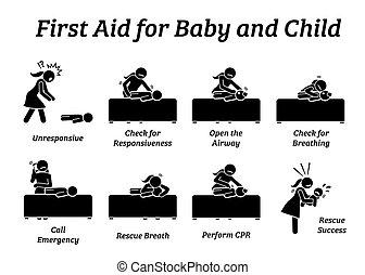 säugling, behandlung, hilfe, stock, oder, kind, icons., rettung, figuren, baby, notfall, zuerst